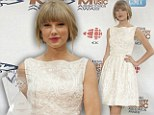Taylor Swift looks angelic in embroidered ladylike dress as she accepts the CCMA Generation Award