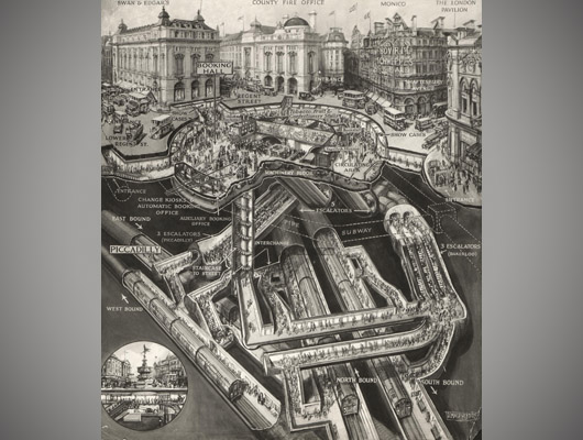 Piccadilly Circus cutaway illustration artwork