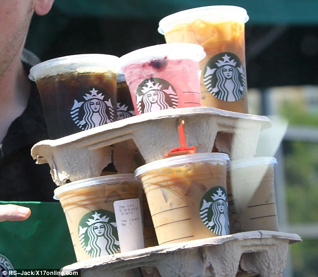 Quite a selection: The couple selected a wide range of beverages from the popular chain