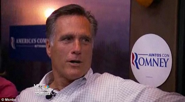 Not so bad: In an interview airing on NBC's Meet the Press on Sunday, Romney expressed some favour of President Obama's healthcare overhaul saying he'd keep some pieces