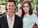 Something in the heir tonight! Lily Collins is stunning in colourful mini dress as she and fellow celeb offspring Patrick Schwarzenegger premiere their film