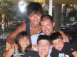 Tragic: David Riek, pictured with his wife Naomi and their three children, disappeared after going for a run on Saturday - and was found the following day after apparently slicing his own neck
