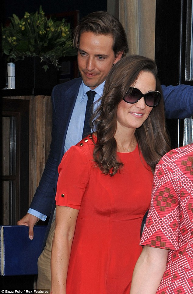Chivalrous: Ex-Etonian Alex Gilkes accompanied Pippa Middleton to Soho House this afternoon