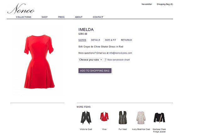 The Nonoo website where Pippa's 'Imelda' dress is on sale for $395