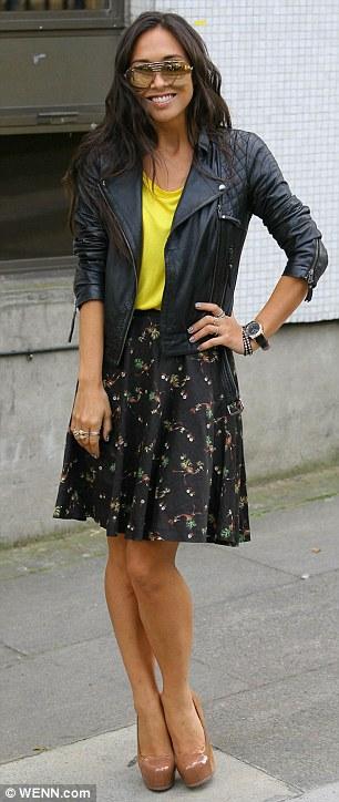 Still looking slender: Myleene Klass models her slim figure in a skirt and heels as she leaves the ITV studios today (Monday)