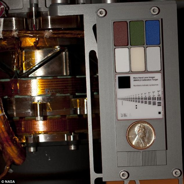 Unique: This penny is attached to the Curiosity rover, helping it calibrate its hi-tech cameras