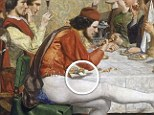 Hidden message: John Everett Millais' 1848 painting, Lorenzo and Isabella, appears to include an erect phallus (circled). The image is a shadow made by a man holding a nutcracker over a table