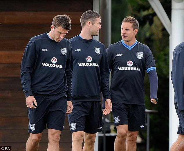 Experienced heads: The likes of Phil Jagielka (right), Gary Cahill (centre) and Michael Carrick (left) will hope to guide the ship