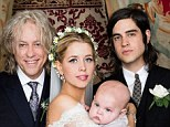 Happy couple: Peaches Geldof and her new husband Thomas Cohen pose with her father Sir Bob Geldof and their son Astala on their wedding day