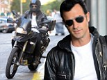 Easy rider: Justin Theroux channels James Dean as he takes his motorbike out for a spin