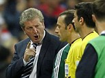 Pointing the finger: Roy Hodgson shows his displeasure at referee Cakir after the final whistle
