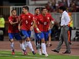 Demolition: Aleksandar Kolarov (No 11) led Serbia to a devastating win over Wales