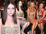 Gossip Girl's pale and interesting star Michelle Trachtenberg wears bustier dress at Badgley Mischka show