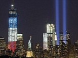 Memory: The Manhattan skyline has been lit up with tributes to the victims of the September 11 attacks