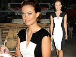 Marvelous in monochrome! Slender Olivia Wilde looks even more lithe in a two-toned optical illusion shift dress