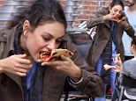 Mila Kunis eats pizza on break from her new film The Angriest Man in Brooklyn on Tuesday, September 11