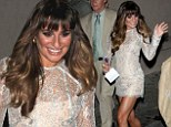 Check out those stems! Glee's Lea Michele shows off her long legs in a metallic minidress