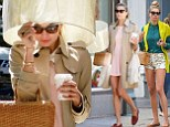 Jessica Hart in two different outfits in New York
