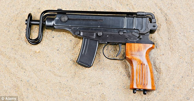 Murder weapon? Ballistic analysis has found that 25 spent cartridges found at the site were possibly from a Czech-made Skorpion gun, pictured