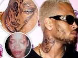 Resemblance: The tattoo has eerie echoes of Rihanna's beaten face following his 2009 assault on her