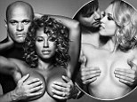 'I love boobs!' Mel B goes topless to promote breast cancer awareness... as husband Stephen Belafonte gives her a hand protecting her modesty