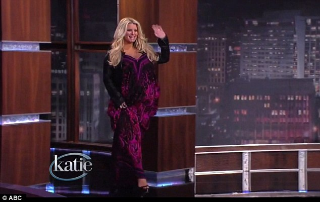As she was: Heavily pregnant Jessica on Jay Leno; she revealed that she thought the weight was due to excess fluid and would come out with the baby