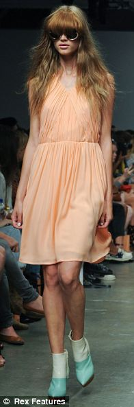 Sherbert pops: Karen Walker gave a little bit of something for everyone in soft summer shades, from boxy blazers, to sweet prom dresses, and Fifties shapes for the nostalgic - or curious