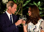 Cheers: Prince William and Catherine, the Duchess of Cambridge, make a toast with water in honour of Queen Elizabeth's Diamond Jubilee at a British Gala reception at the Eden Hall in Singapore
