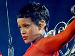 Flawless: Singer Rihanna had blue light treatment on her face before her performance in the Paralympics closing ceremony