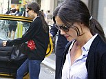 You'd never know she was a fashion designer! Katie Holmes looks dowdy in embroidered cardigan