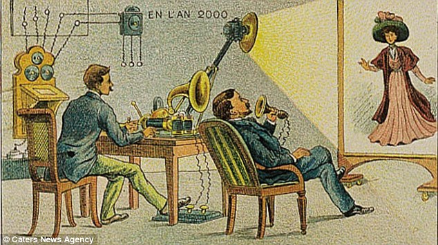 Proved right: Some of the postcards are not so ridiculous - and the artists even appear to have invented an early form of modern technology. Pictured is a video phone