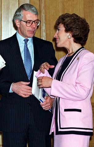 Ex-lovers: Then Prime Minister John Major and Edwina in 1994
