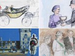 Paintings by Michael Noakes featuring the Queen tirelessly performing a whole range of domestic, state and international duties throughout 1999