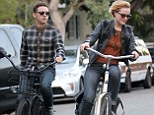Evan Rachel Wood and Jamie Bell take a bike ride in Venice, CA, USA.