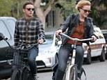 Evan Rachel Wood and Jamie Bell take a bike ride in Venice, CA, USA.