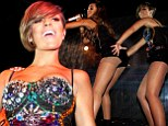 That¿s one way to crack America! The Saturdays show off their long legs (and their tights) at New York gig