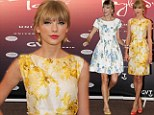 In bloom: Taylor Swift dons two floral dresses in Brazil to accept Gold Record Award