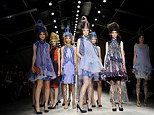 Queens of style: Icy blues, patterned tights and elaborate crowns dominated the spring/summer show for Bora Aksu