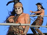 The great escape: Tonto's in trouble as Johnny Depp and Arme Hammer shoot action scene for Lone Ranger movie