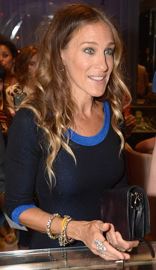 Bejewelled: The TV and film star last night appeared at the Fred Leighton Boutique as part of the 2012 Fashion's Night Out events wearing lashings of jewellery