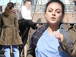 Mila to the rescue! Kunis races to save Robin Williams from jumping off the Brooklyn Bridge (But it's all just a big act)