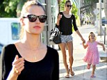 Alessandra Ambrosio beats the heat in a pair of tiny shorts as she takes daughter Anja along for a mani pedi