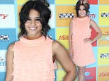 Pretty in pink: Vanessa Hudgens is honoured for her charity work at the Power of Youth Awards