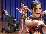 Let's see those jazz hands! Emma Watson shows American chat show host Jimmy Fallon her moves