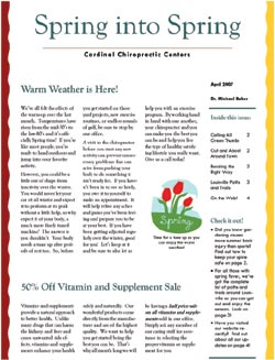 Cardinal Chiropractic Newsletter - April 2007