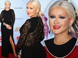 Christina Aguilera squeezes her curves into an unflattering tight dress as she shows off her new rainbow hair