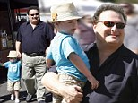 Wayne Knight, who played Newman on the hit sitcom Seinfeld, seen with his adorable son at the Farmer's Market