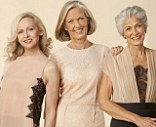 Silver style: Models Sue Scadding, 58, (left) Annabel Davis, 61, and Usha Hands, 71, gracefully smile for the photographer's camera
