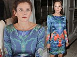 Flawless flower: Fresh-faced Anna Friel sets the tone at Alice Temperley show in a fitted blue dress