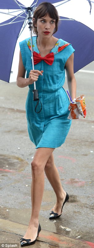 Guest star: Alexa Chung was seen filming with Leighton, sparking speculation she will play a cameo role